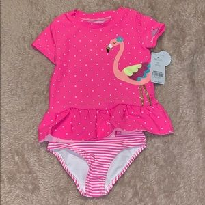 Carters, pink flamingo, 2 piece swimsuit. NWT